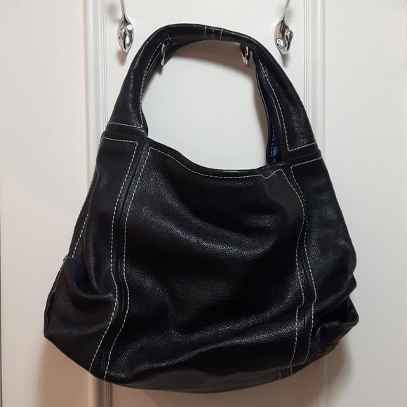 Genuine leather handbag with white threading